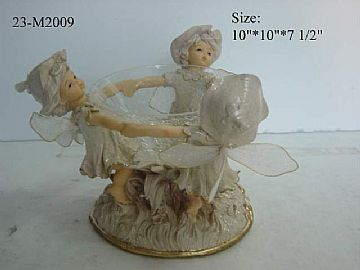 Glassware And Polyresin Figurine